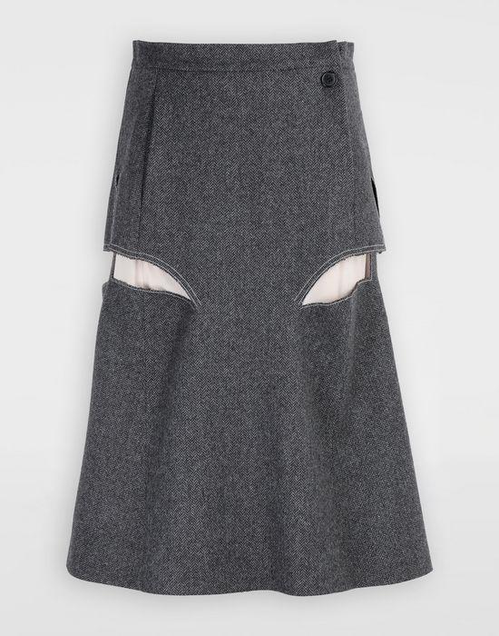 MAISON MARGIELA Jupe «décortiqué» mi-longue en laine Jupe mi-longue [*** pickupInStoreShipping_info ***] f