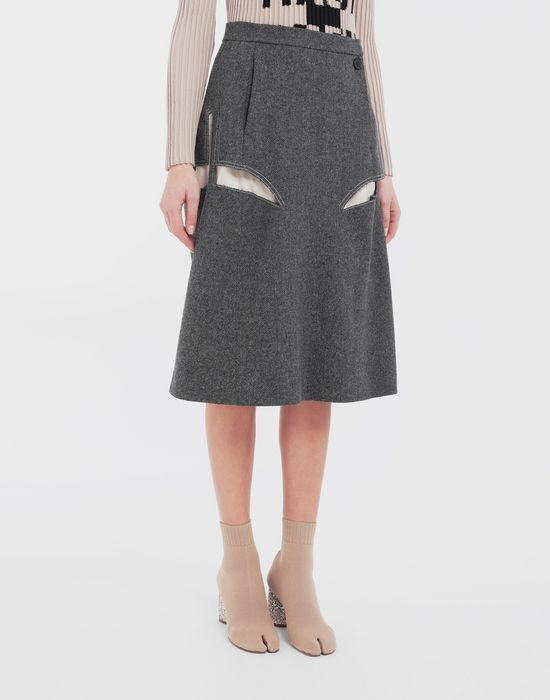 MAISON MARGIELA Décortiqué midi wool skirt 3/4 length skirt [*** pickupInStoreShipping_info ***] r