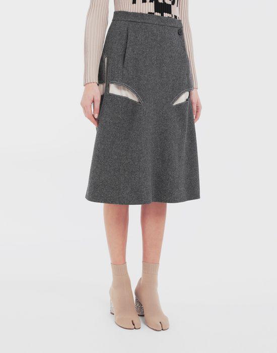 MAISON MARGIELA Jupe «décortiqué» mi-longue en laine Jupe mi-longue [*** pickupInStoreShipping_info ***] r