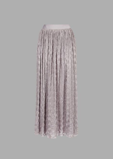 Long pleated ottoman skirt with transparent vertical stripes