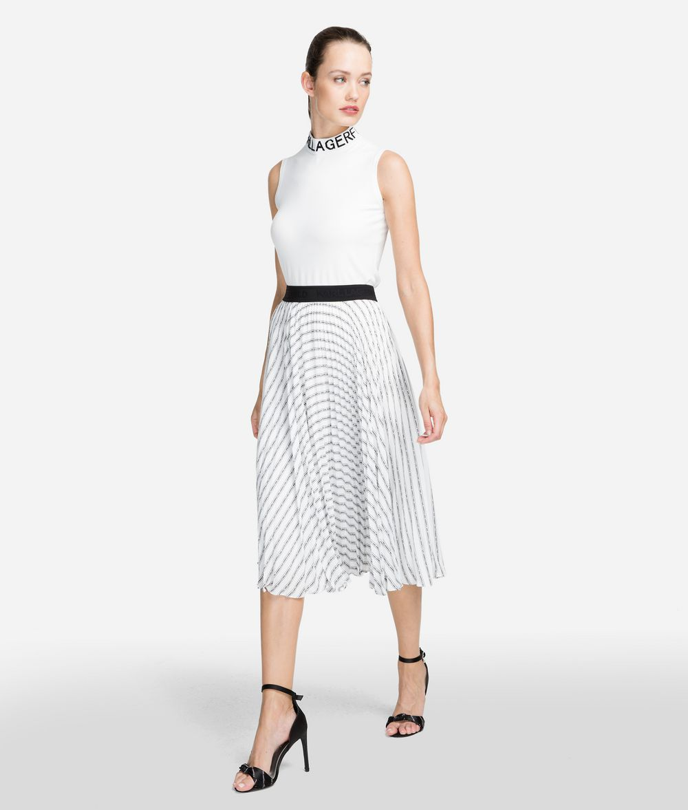 KARL LAGERFELD Pleated Logo Midi Skirt Skirt Woman f