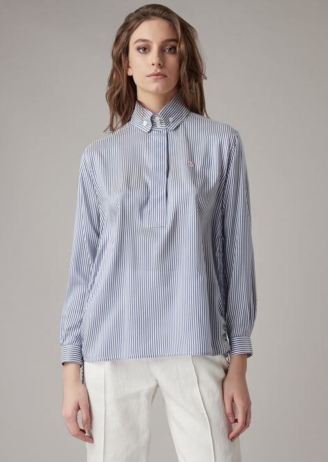 Striped silk shirt with side slits
