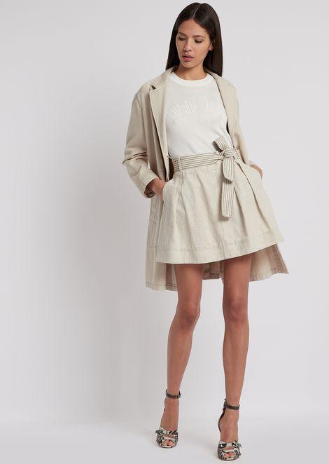 Falda de algodón y lino con cinturón de rayas