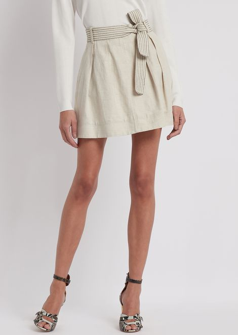 Cotton and linen skirt with striped belt