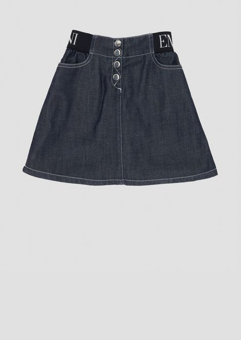 Denim skirt with stretch logo waistband