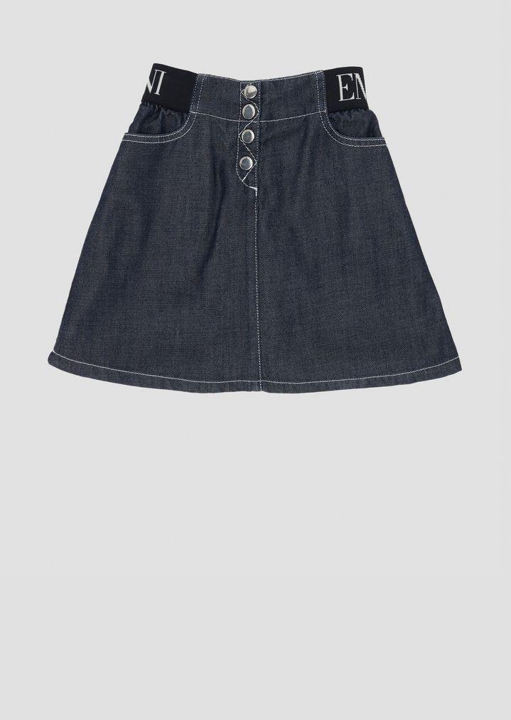c47e4b529d1 Falda de denim con banda elástica y con logotipo en la cintura   Mujer    Emporio Armani