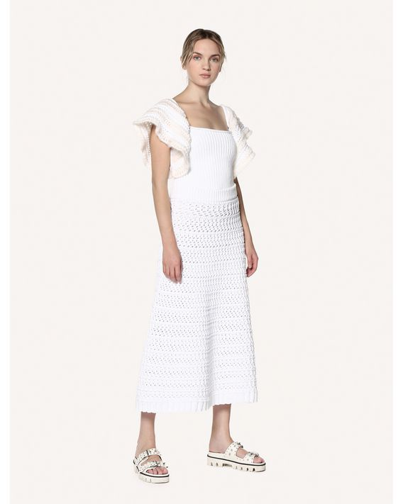 REDValentino Cotton crochet knit skirt