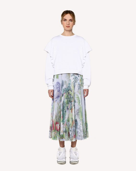 REDValentino Mexican Landscape jersey mesh pleated skirt