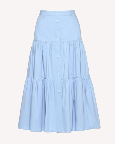 Stretch Compact Poplin flounced skirt