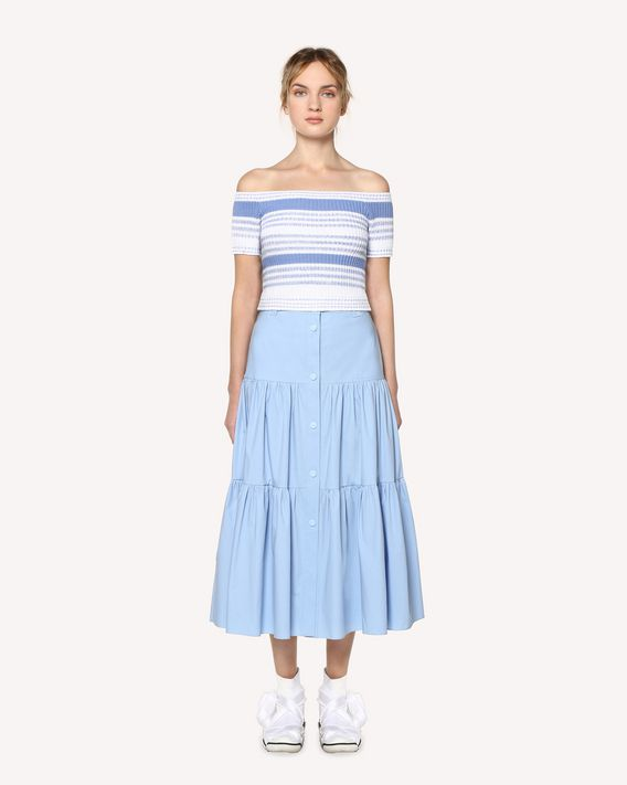 REDValentino Stretch Compact Poplin flounced skirt