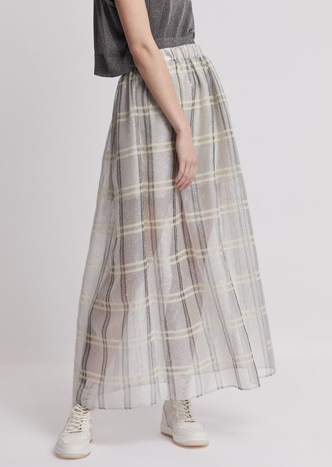 Long skirt in checked faille with sequin embroidery