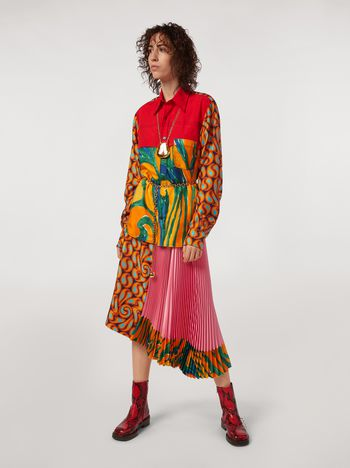 Marni Viscose satin skirt with Turbulent print insert Woman