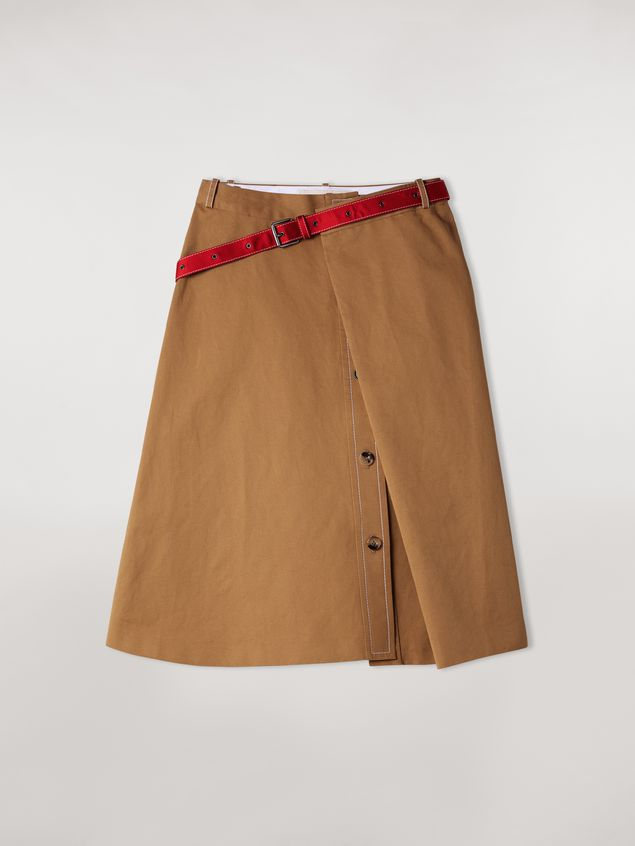 Marni Cotton and linen drill skirt with belt Woman - 2