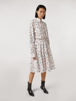 Marni Pleated cotton skirt Apres-Midi print by Bruno Bozzetto Woman