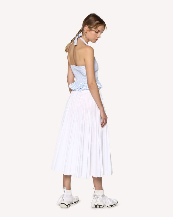 REDValentino Cotton poplin pleated skirt
