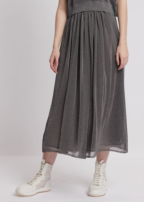 Long skirt in plain knit lurex