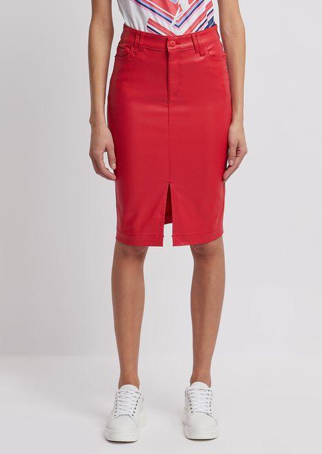 Coated gabardine pencil skirt