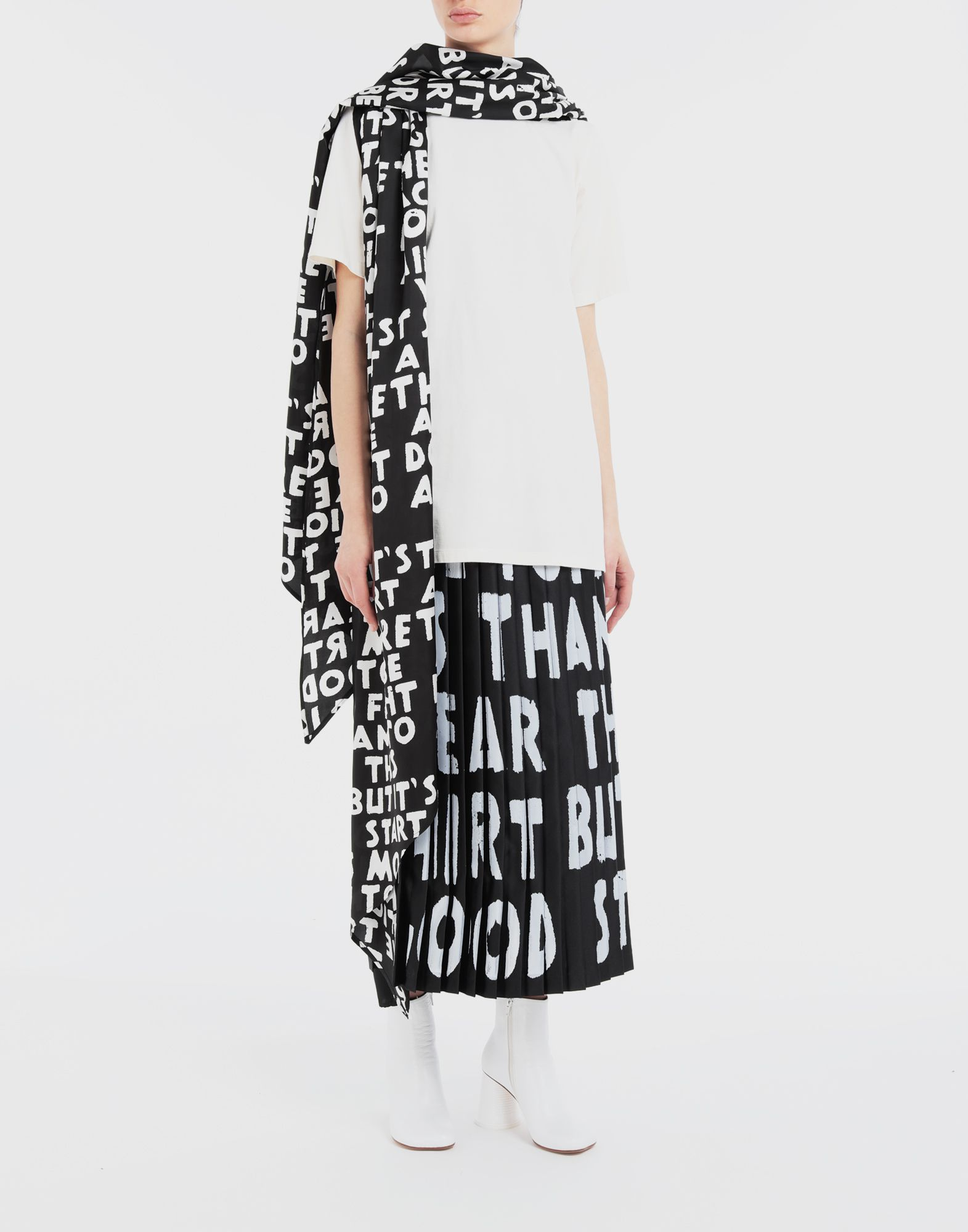 MM6 MAISON MARGIELA Charity AIDS-print pleated skirt  Long skirt Woman d