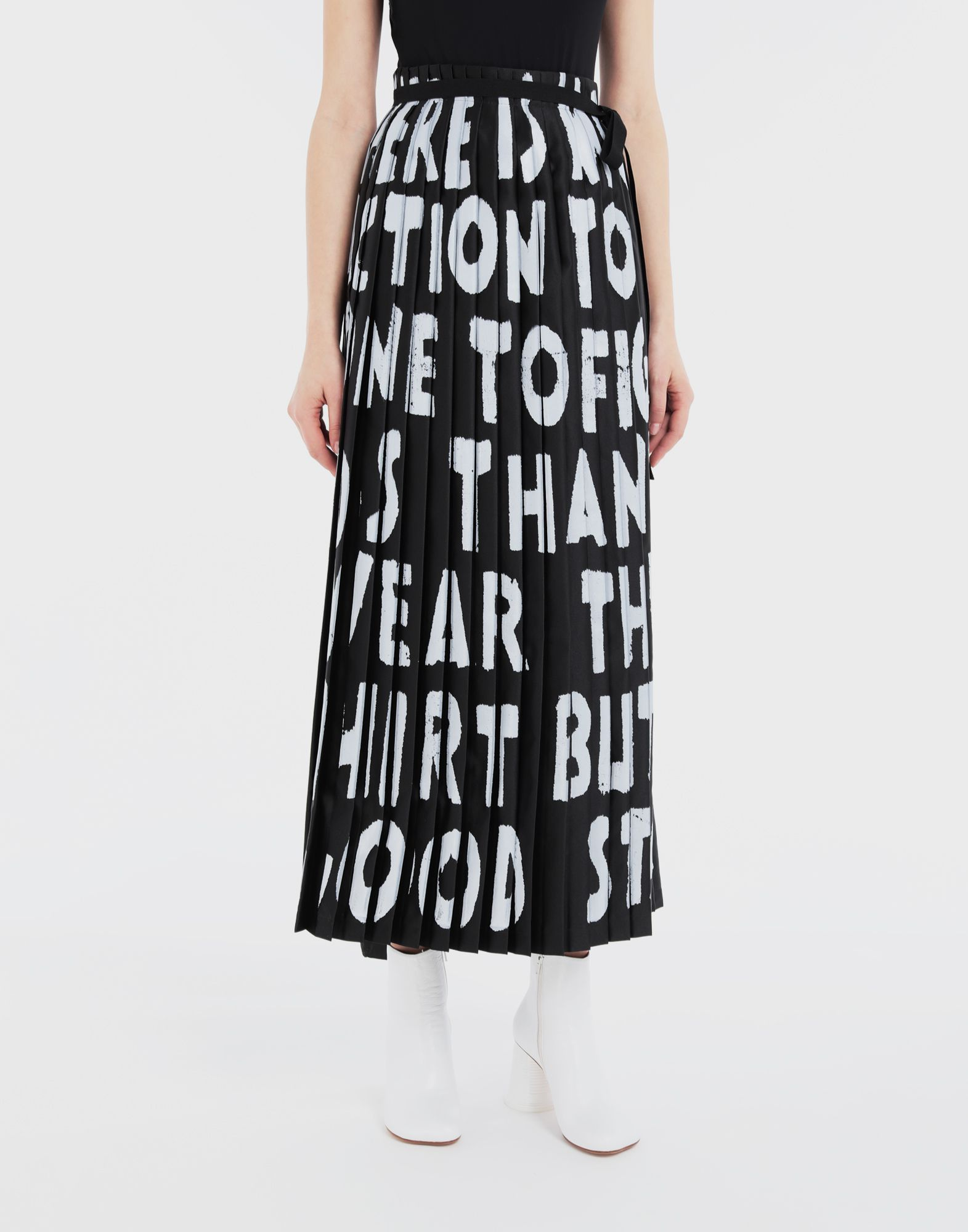 MM6 MAISON MARGIELA Charity AIDS-print pleated skirt  Long skirt Woman r