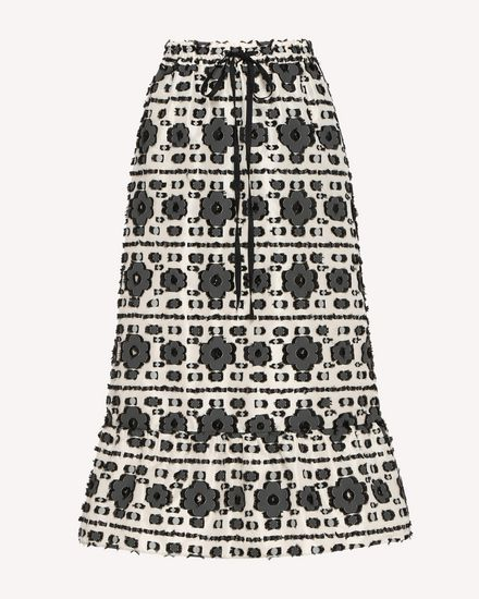 Graphic flowers fil coupé jacquard skirt