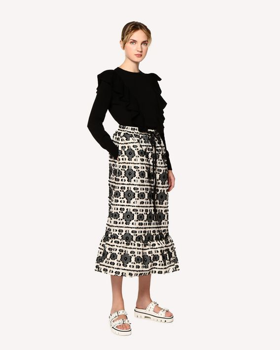 REDValentino Graphic flowers fil coupé jacquard skirt