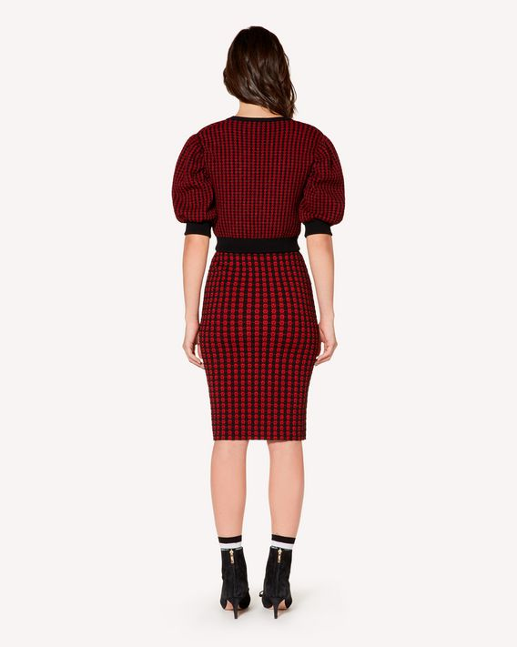 REDValentino Check skirt in elasticated viscose and lurex jacquard