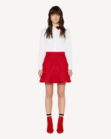 Hearts detail tricotine tech skirt