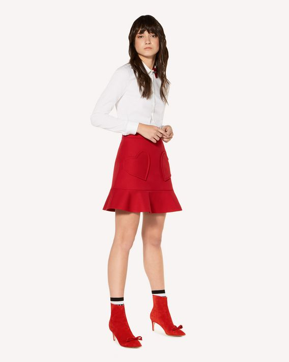 REDValentino  Hearts detail tricotine tech skirt