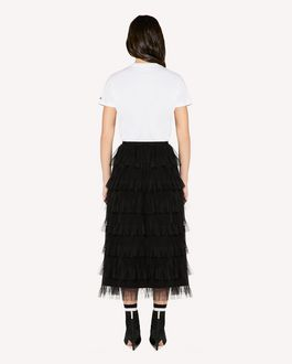 REDValentino Point d'Esprit tulle skirt with flounces