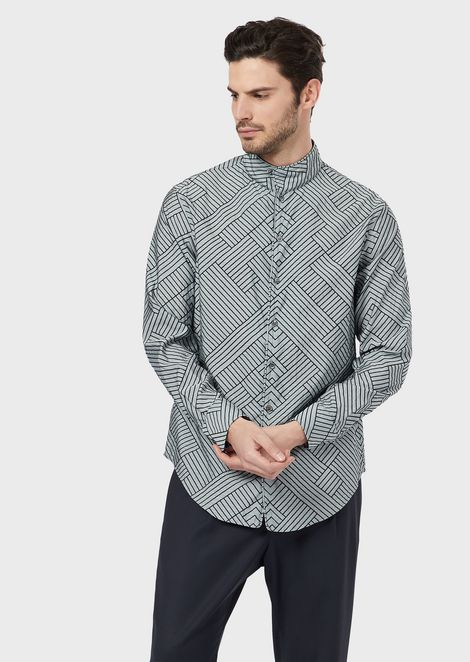Regular-fit shirt in exclusive flock-patterned fabric based on stripes