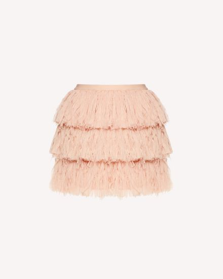 Tulle miniskirt with fringed detailing