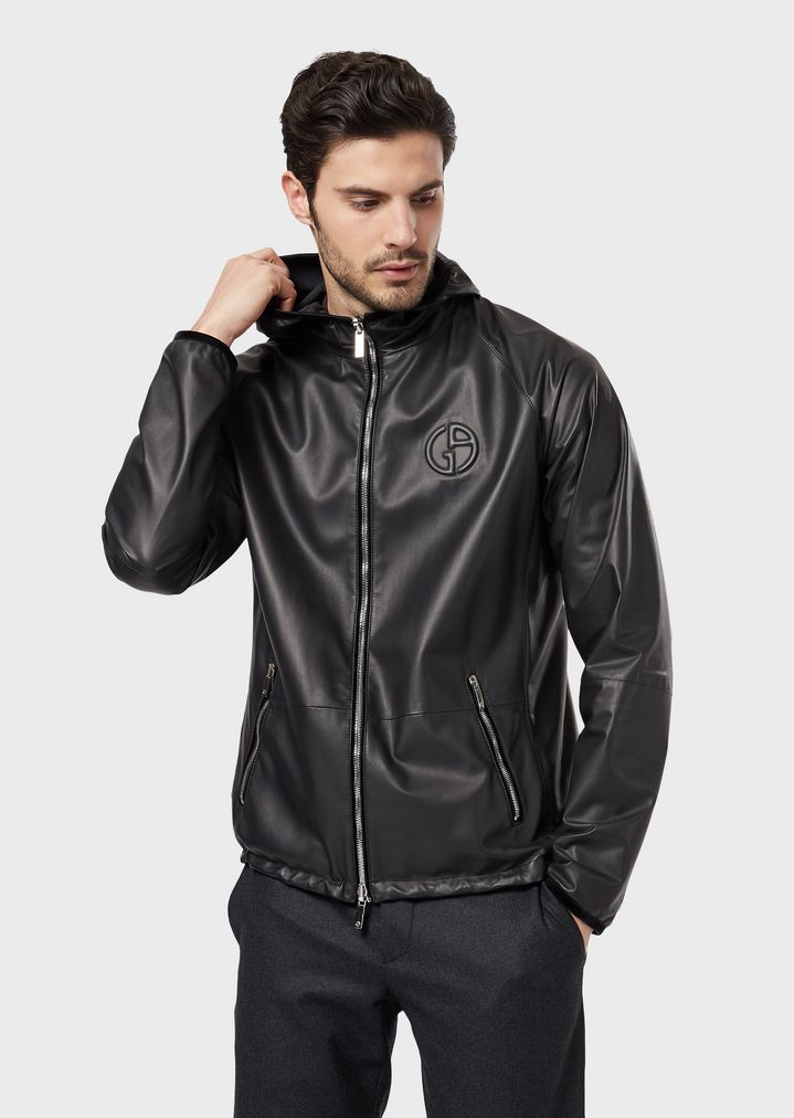 4896924e31 Reversible blouson with hood in nappa leather and fabric