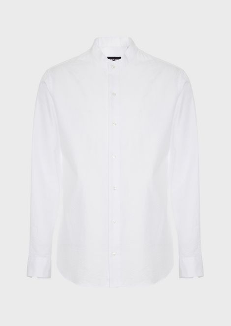 Regular-fit shirt in exclusive seersucker fabric