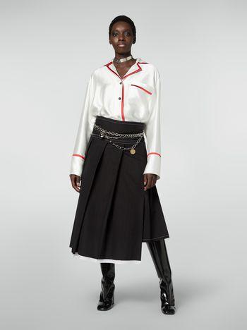 Marni Asymmetric pleated skirt in cotton poplin Woman