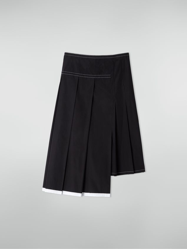 Marni Asymmetric pleated skirt in cotton poplin Woman - 2