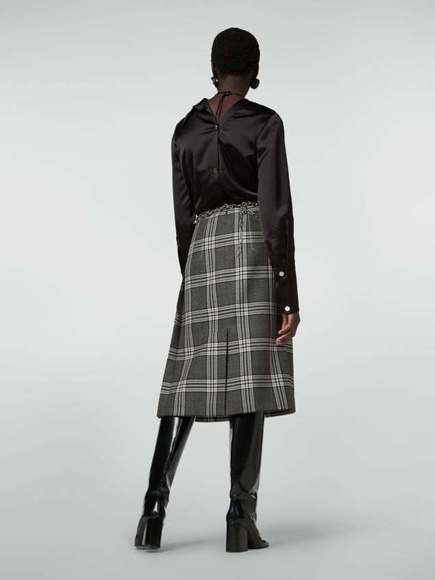 Marni Tulip skirt in chequered motif yarn-dyed wool Woman