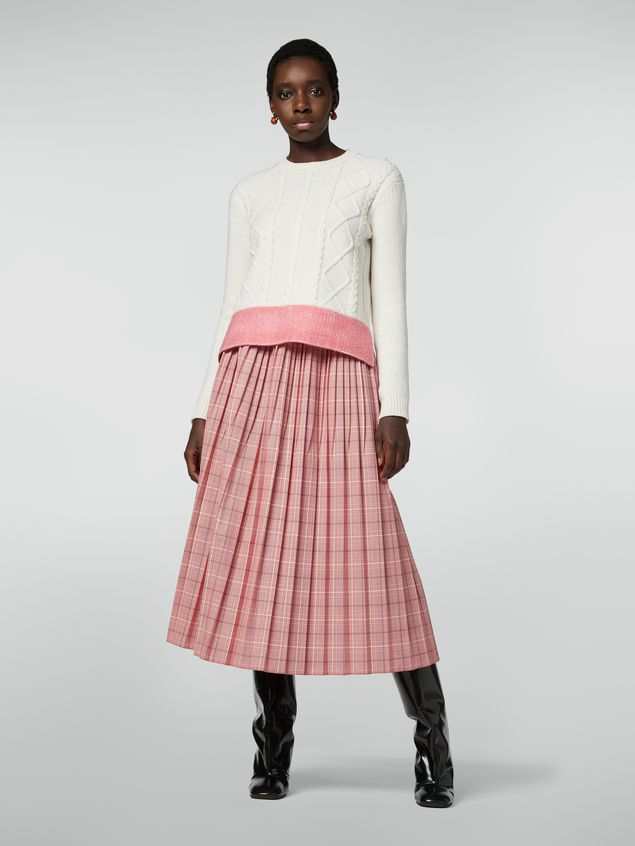 Marni Pleated skirt in yarn-dyed techno wool Houndstooth pattern Woman - 1