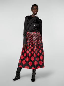 Marni Pleated skirt in faux leather Otti print Woman