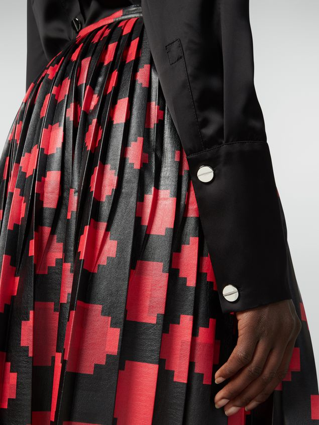 Marni Pleated skirt in faux leather Otti print Woman - 4
