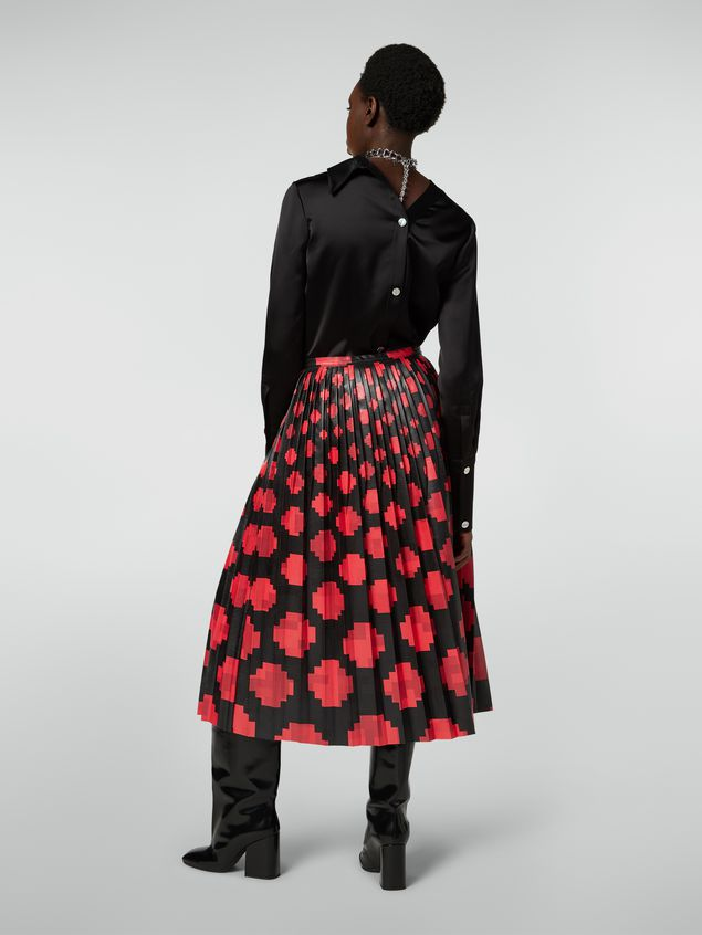 Marni Pleated skirt in faux leather Otti print Woman - 3