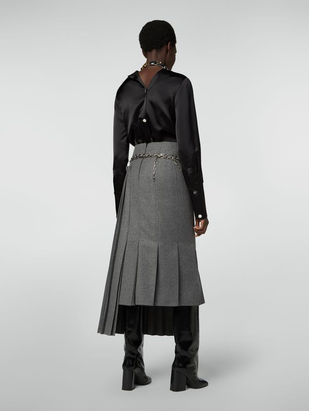 Marni Pleated skirt in compact wool flannel Woman
