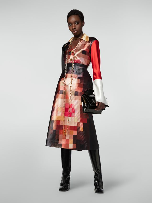 Marni A-line skirt in duchesse Pixel Grace print Woman - 1