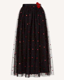 REDValentino Embroidered tulle point d'esprit skirt with heart patch