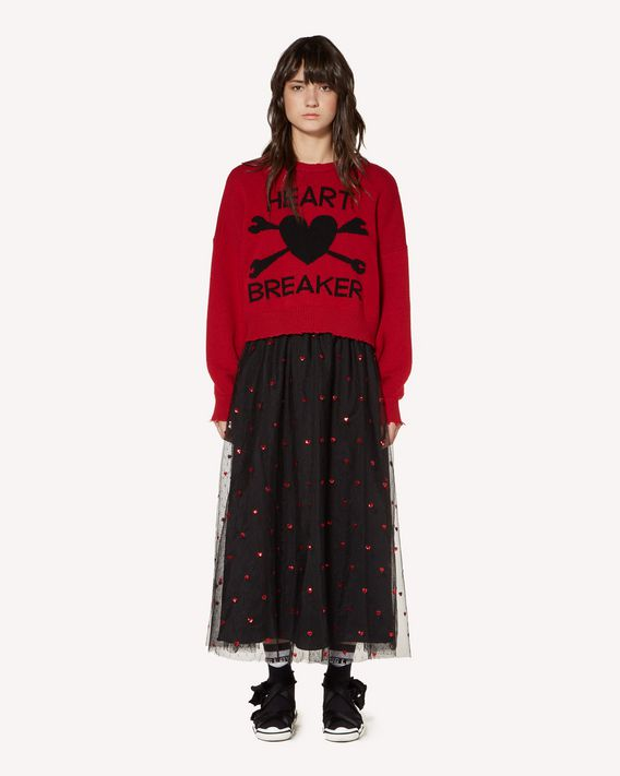REDValentino Hearts embroidered point d'Esprit tulle skirt with heart patch detail