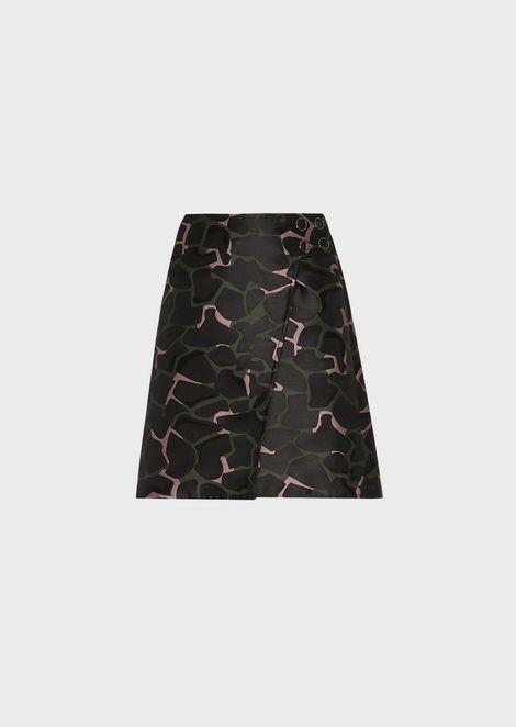 Giraffe-motif flared miniskirt in jacquard duchesse satin
