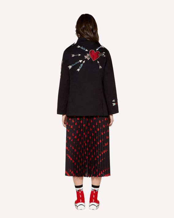 REDValentino Crepe de chine pleated skirt with Heart print