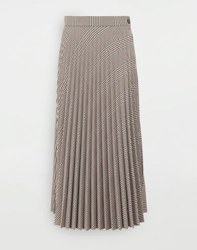 SKIRTS Checked pleated skirt Brown