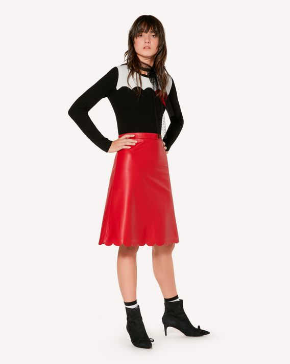 REDValentino Leather skirt with scallop detail