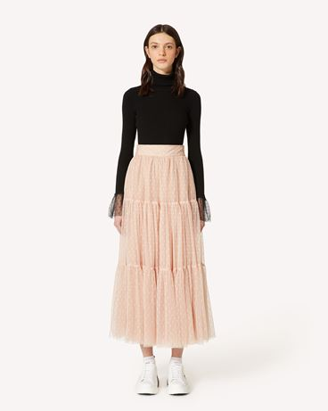 REDValentino Tulle point d'esprit pleated skirt