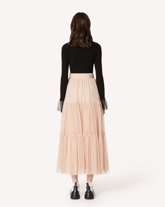 REDValentino Gonna plissè in tulle point d'esprit